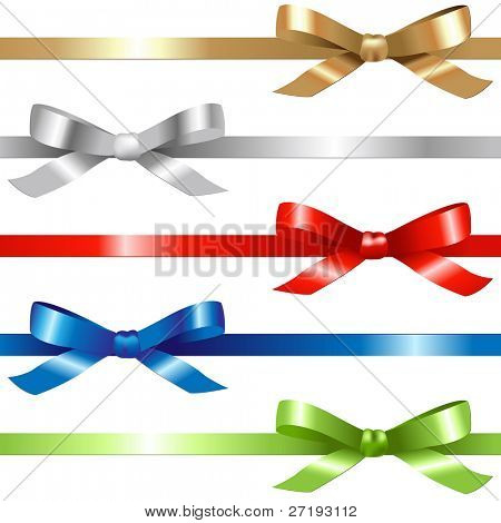 5 Ribbons,  Isolated On White Background, Vector Illustration