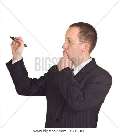 Businessman Thinking Before To Write On The Whiteboard