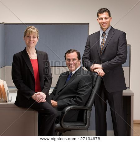Confident co-workers posing in cubicle