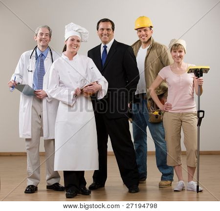 Doctor, chef, construction worker and housewife posing