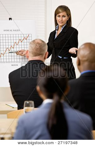 Confident businesswoman explaining financial analysis chart to co-workers