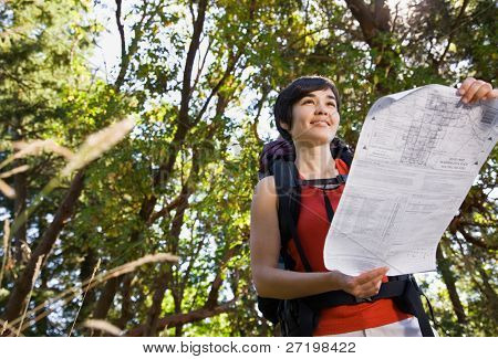 Woman with backpack looking at map