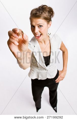 Businesswoman holding penny