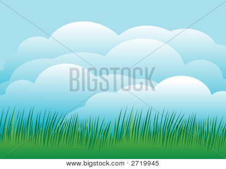 Sky Background With Green Grass