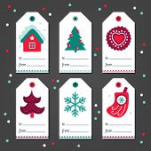 Set Of Christmas Gift Tags With House, Fir Tree, Cookie, Snowflake, Sock In White, Green And Red. Pe poster