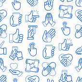 Hands Gestures Seamless Pattern With Thin Line Icons Set: Handshake, Easy Sign, Single Tap, 2 Finger poster