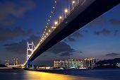 stock photo of tsing ma bridge  - Tsing Ma Bridge in Hong Kong at night - JPG