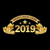 2019 On Black Background, New Year 2019, 3d Illustration, Happy New Year 2019, Red 3d Numbers, New Y poster