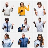 Collage of group of people using smartphone over isolated background very happy and excited, winner  poster
