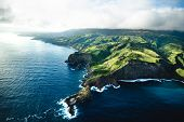 Beautiful Aerial View Of Tropical Island Paradise Nature Scene Of Maui Hawaii On Clear Sunny Day Wit poster