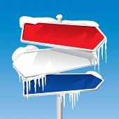 Frozen Signpost (editable vector). In the gallery also available XXL jpeg image made from this vecto