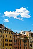 stock photo of shiting  - Face of house on the Arno river in Florence Italy - JPG