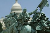 stock photo of lobbyist  - The Capitol Building in Washington DC framed by a detail of the Ulysses S - JPG