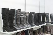 Womens Boots On The Shelves In The Store. Pavilion Of The Store With Fashionable Womens Shoes. Leath poster
