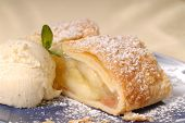 Slicke Of Apple Strudel With Vanilla Ice Cream