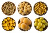Yellow Berries And Fruits Isolated On White Background. Collage Of Different Yellow Berries And Frui poster