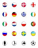 picture of offside  - a selection of badge like images showing the flags of all the competing countries of the 2012 european championship football tournament and four other related badges - JPG