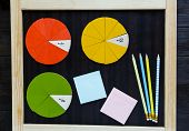 colorful math fractions on the blackboard. interesting math for kids. education, back to school conc poster