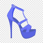 Blue Woman Sandal Icon. Flat Illustration Of Blue Woman Sandal Vector Icon For Web Design poster