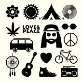 Set Of Hippie Flat Icons. Infographic Elements. poster