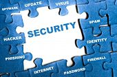stock photo of spyware  - Security blue puzzle pieces assembled - JPG