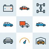 Automobile Icons Colored Line Set With Speedometer, Sport, Garage And Other Speed  Elements. Isolate poster