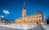 Classic Twilight View Of Famous Hamburg City Hall With Rathausmarkt Square Illuminated During Blue H poster