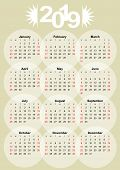 Calendar 2019 On Old Paper Background, Month In Circles, Low Contrasting Elegant Sparse Design. poster