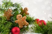 Happy Chill Out Time,group Of Smiling  Gingerbread Men Cookies Celebrate Christmas And New Year Part poster