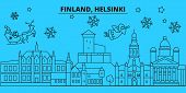 Finland, Helsinki Winter Holidays Skyline. Merry Christmas, Happy New Year Decorated Banner With San poster