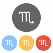 Astrological Sign. Scorpio Simple Icon. Set Of White Icons On Colored Circles poster