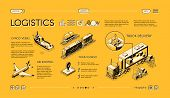 Business Logistics Isometric Vector Web Banner, Swipe Landing Page Template With Truck Delivery, Fre poster