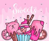 Cute Funny Girl Teenager Colored Icon Set Sweets, Fashion Cute Teen And Princess Icons. Magic Fun Cu poster