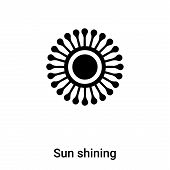 Sun Shining Icon In Trendy Design Style. Sun Shining Icon Isolated On White Background. Sun Shining  poster