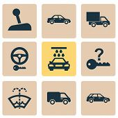 Automobile Icons Set With Washer Fluid, Sedan, Van And Other Windscreen Elements. Isolated Vector Il poster