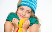 Hat And Scarf Keep Warm. Kid Wear Warm Soft Knitted Blue Hat And Long Scarf. Warm Woolen Accessories poster