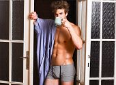 Sexy Bachelor Lover Concept. That Was Great Night. Guy Attractive Lover Enjoy Morning Coffee. Seduct poster