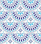 Mexican Folk Art Vector Seamless Geometric Pattern With Flowers, Blue Fiesta Design Inspired By Trad poster