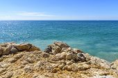 Sea Summer Day Landscape With Bright Blue Sky. Interior Photo poster