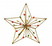 stock photo of christmas star  - Christmas star decoration isolated on white background - JPG