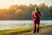 Active Senior Woman Hiking Walks At Colorful Sunny Autumn Park. Healthy Lifestyle. Finland. poster