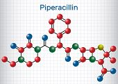 Piperacillin Molecule. It Is Antibiotic Drug. Sheet Of Paper In A Cage. Structural Chemical Formula  poster