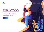 Web Page Template Of Yoga Studio. Time To Yoga. Modern Flat Design Concept Of Web Page Design For We poster