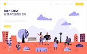 Tourism And Travel Landing Page Template. Flat People Characters Travelling On Vacation Concept. Man poster
