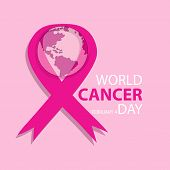 World Cancer Day Concept. February 4. Vector Illustration Of World Cancer Day With Ribbon And World  poster