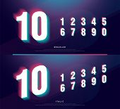Glitched Numbers Alphabet Font Design. Number Headline, Typeface, Logo, Fonts Letters And Numbers. T poster