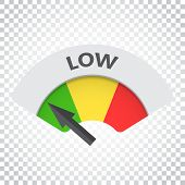 Low Level Risk Gauge Vector Icon. Low Fuel Illustration On Isola poster