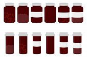 Illustration On Theme Big Colored Set Different Types Of Pills Inside Close Jar. Pill Pattern Consis poster
