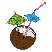 Cocktail In A Coconut Icon. Vector Of A Broken Coconut With A Decorative Umbrella For Cocktails. Han poster