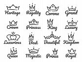 Majestic Crown Logo. Sketch Prince And Princess, Hand Drawn Queen Sign Or King Crowns Graffiti Vecto poster